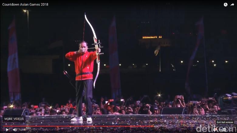 Presiden Jokowi membuka Countdown Asian Games 2018 dengan aksi memanah yang Bikin Kagum